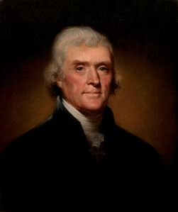 Official Presidential portrait of Thomas Jefferson. By Rembrandt Peale, 1800.