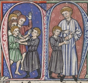 William of Tyre's discovery of leprosy in the future Baldwin IV. Artist unknown, circa 1250.