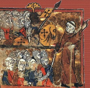 Peter the Hermit leads the Peasants Crusade. Date and artist unknown.